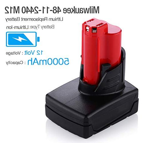 Powerextra 5000MAh 12V Cordless Replacement Battery Compatible Milwaukee M12
