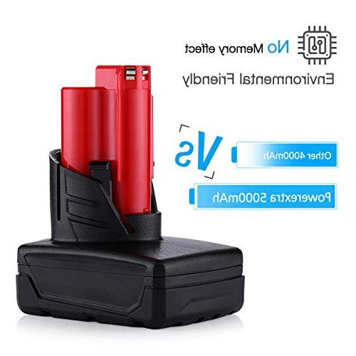 Powerextra 5000MAh Lithium-ion Cordless Compatible with Milwaukee 48-11-2411 Cordless Tools,2