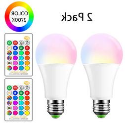 LED Color Change Light Bulbs E26 15W RGBW Lights Lamp Remote