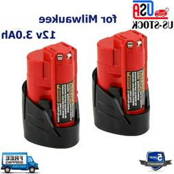 For Milwaukee M12 12Volt 3.0Ah 48-11-2420 48-11-2411 Lithium