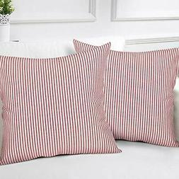 Striped Throw Pillow Covers CINSEY 2 Pack Woven Square Pillo