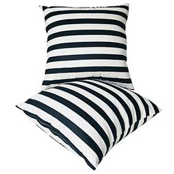 U-LOVE 2Pack Black&White Striped Pillow Covers Morden Simple