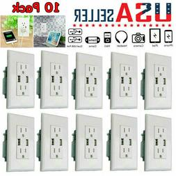 Home Dual USB Wall Outlet Charger Port Socket with 15A Elect