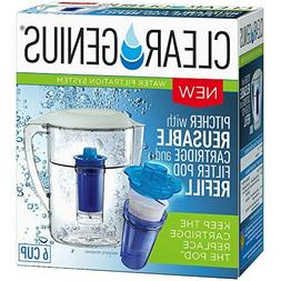 Clear Genius Water Pitcher Filtration System FWP-1, Includes